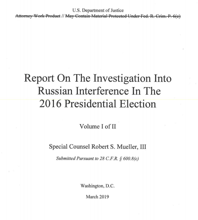 report of the investigation into Russian interference in the 2016 presidential election