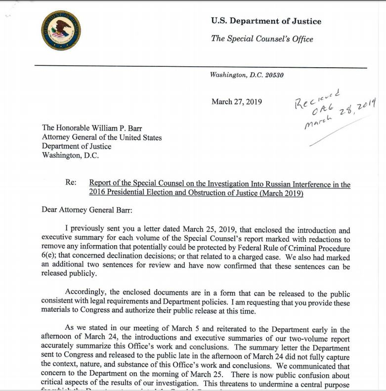 READ the letter from Special Counsel Robert Mueller to Attorney General Bar